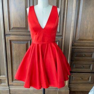 Terani Couture Red V neck Circle skirt